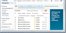 Hotmail integrado en la Barra de tareas