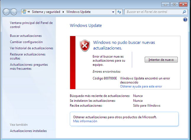 8007000e windows update windows ep networking help