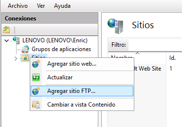 Servidor Local FTP abierto a Internet